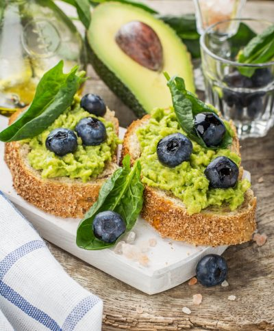 avocado and blueberry on toast for diabetic