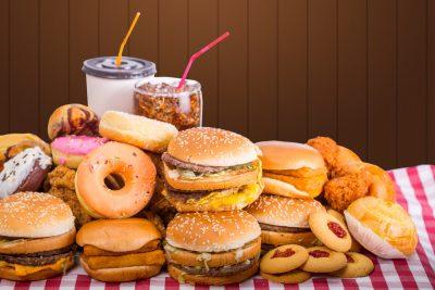 fast food, burger, doughnut, milkshake, soda