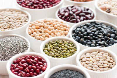 bean and seed variety in bowls for diabetic, lentil